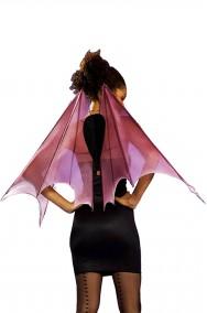 Ali finte da pipistrello rosa in tulle con armatura rigida