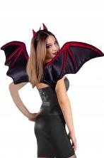 Ali pipistrello in satin con ossa stampate in rosso glitter