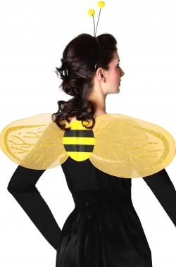 Ali gialle da ape in tulle e cerchietto con cornine