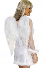 Ali bianche da angelo di piume a punta 56x40cm