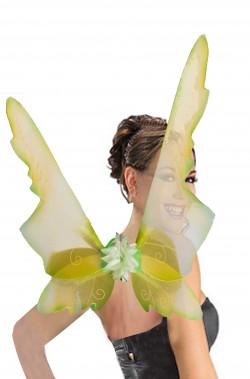 Grandi ali finte verdi da farfalla, elfa, fata trilli campanellino 50 x 70 cm