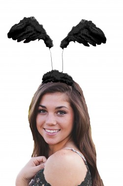 Cerchietto con ali nere di piume