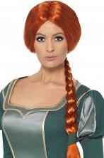 Parrucca donna adulta rossa con treccia Fiona di Shrek originale