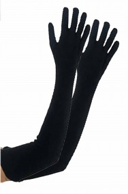 Guanti neri lunghi da donna eleganti 55 cm