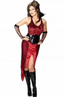 Costume diavoletta lungo guardiana dell'inferno rosso e nero