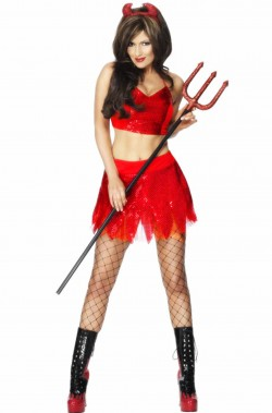 Costume Halloween Adulta diavoletta pancia scoperta