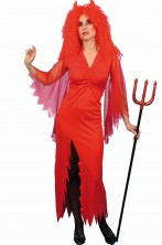 Costume diavoletta adulta lungo rosso con spacco