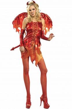Costume Halloween diavoletta dama delle fiamme