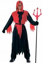 Costume diavolo uomo con tunica nera e rossa