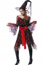 Costume da strega bellissima mille veli rosso e nero donna adulta