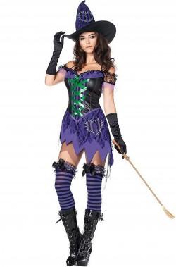 Costume da strega per Halloween sexy viola con corpetto