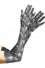 Guanti neri e argento da donna con stampa a ragni per strega lunghi