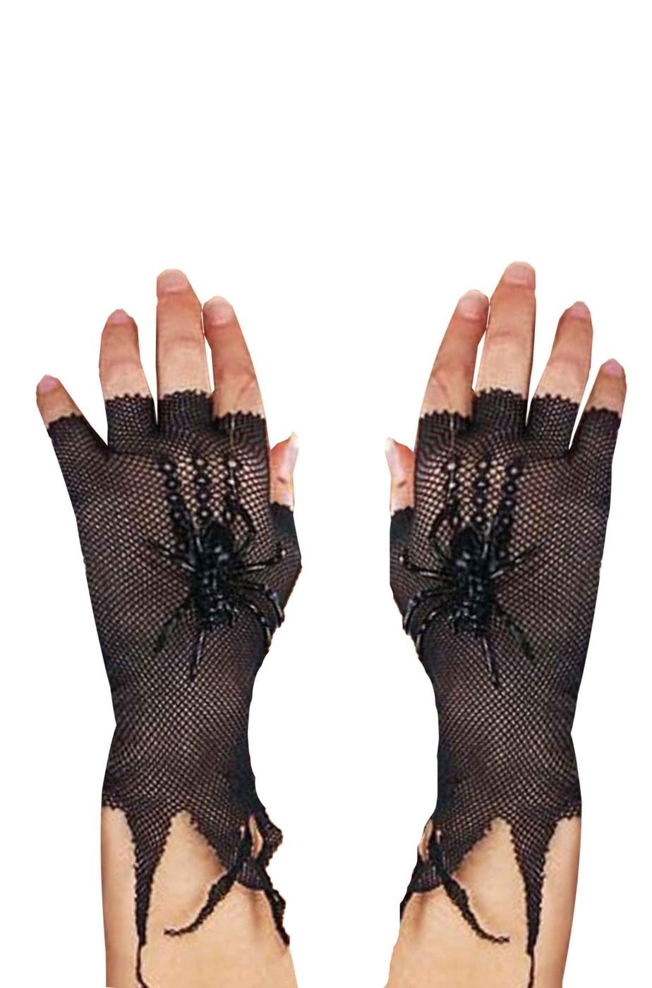 Guanti neri di rete senza dita da donna corti con ragno