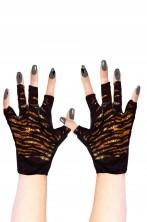 Guanti neri e oro da donna tigrati corti senza dita