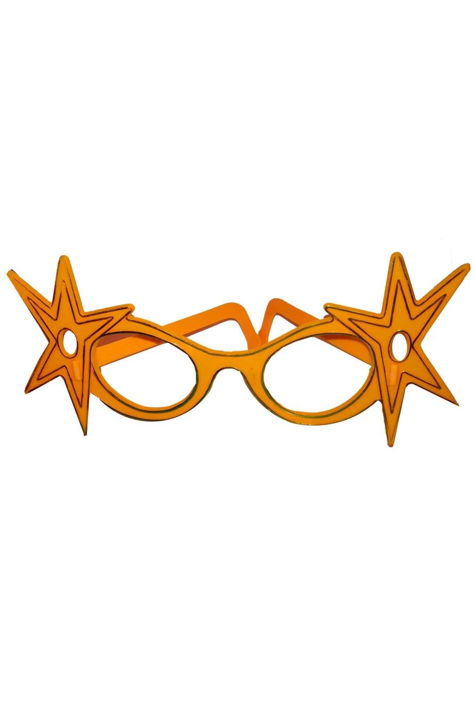 Occhiali Anni 70 arancioni finti con grandi stelle