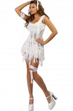Costume halloween da donna da Mummia bianco corto