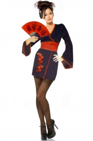 Costume donna geisha giapponese nero e rosso corto