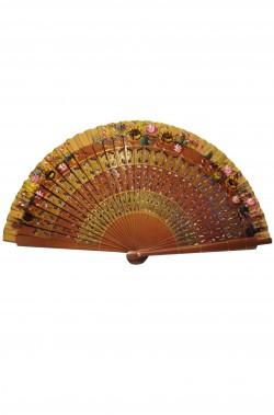 Ventaglio da giapponese o cinese geisha in legno con fiori colorati