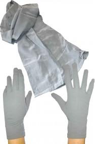Set anni 20 charleston donna guanti grigi e sciarpa