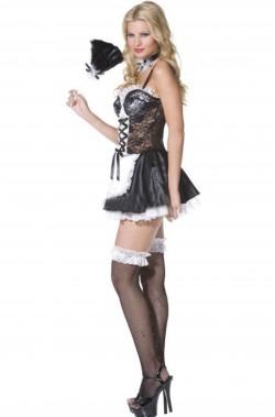 Costume donna sexy Cameriera magenta laterale