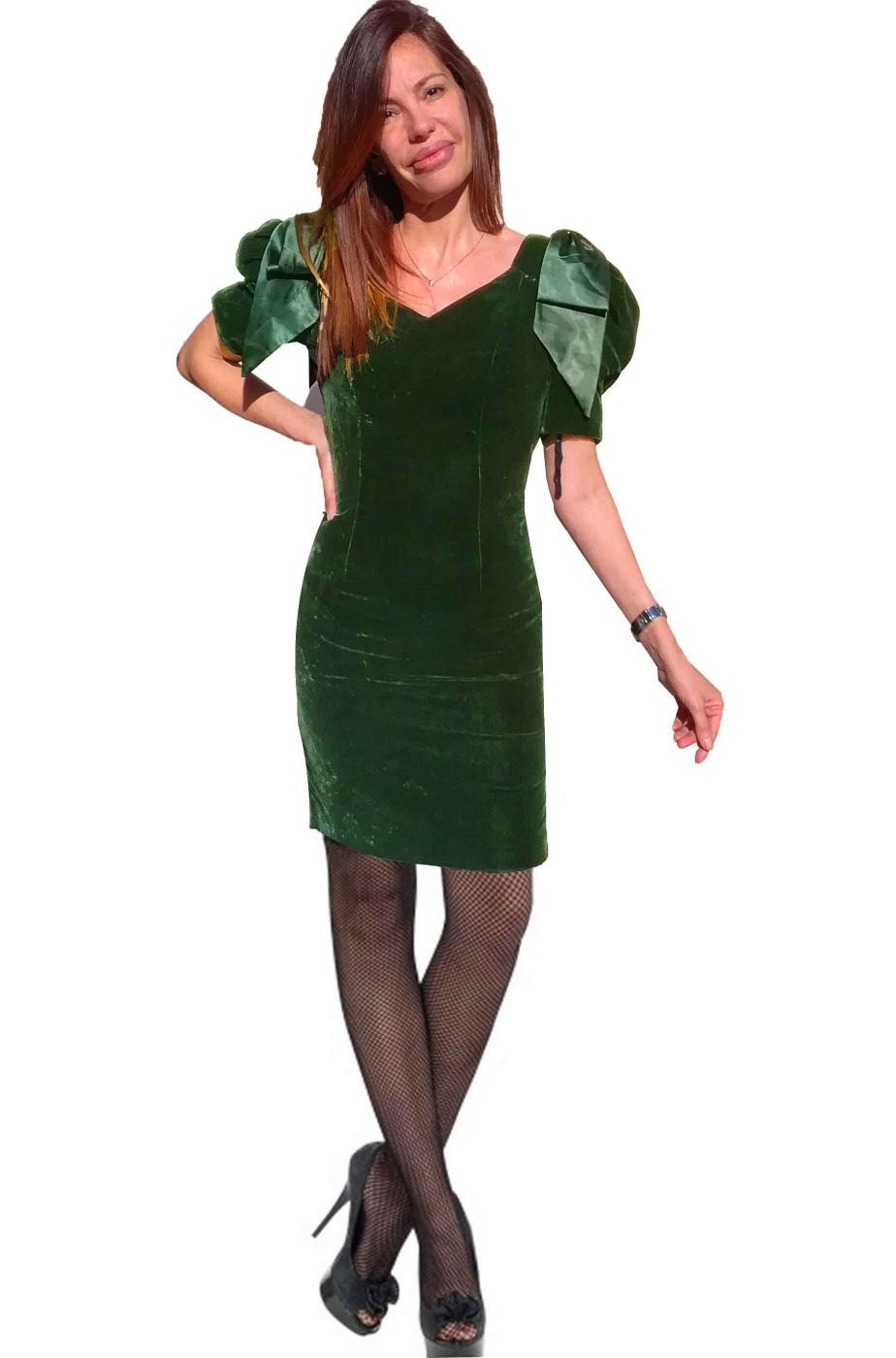 Vestito Vintage Anni 20 verde con spalle a palloncino