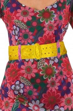Cintura per anni 70 hippie o flower power gialla