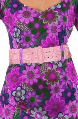 Cintura da donna stile anni 70 hippie o flower power rosa antico