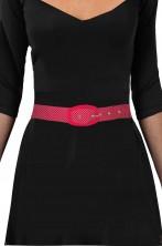 Cintura da donna stile anni 50 rossa a pois bianchi
