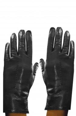Guanti neri corti di pelle da donna taglia S/M