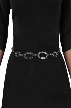 Cintura da donna di pelle e metallo con anelli ovali stile vintage anni 60