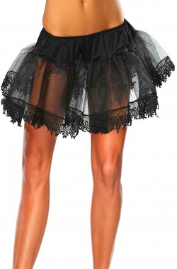 Sottogonna nera di tulle con pizzo ed elastico in vita