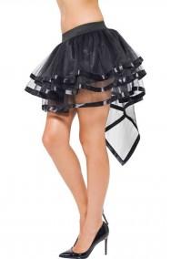 Gonna burlesque nera trasparente con coda a tre veli e finiture in raso