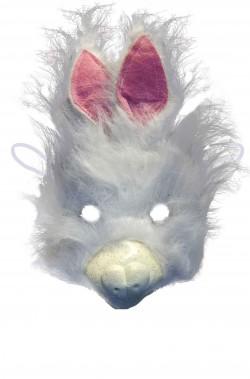 Maschera da coniglio bianco con orecchie rosa