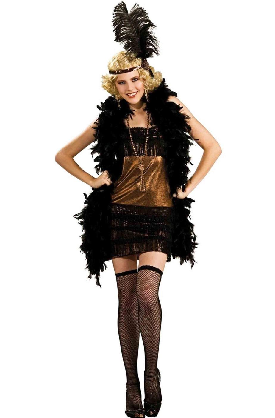 Costume donna anni 20 Charleston Flapper Gatsby bronzo