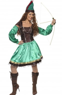 Costume donna Robin Hood verde con gonna