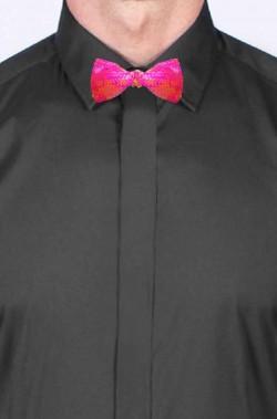 Cravattino Farfallino Papillon in paillette rosa con elastico
