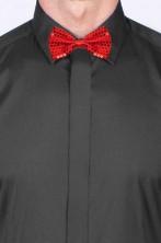 Cravattino Farfallino Papillon in paillette rosso con elastico