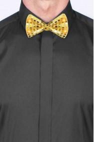 Cravattino Farfallino Papillon in paillette oro con elastico