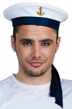 Cappello da marinaio bianco con fascia blu stile marina russa