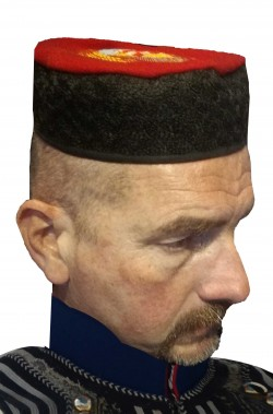 Cappello greco turco Fez guardia reale con pennacchio floscio nero