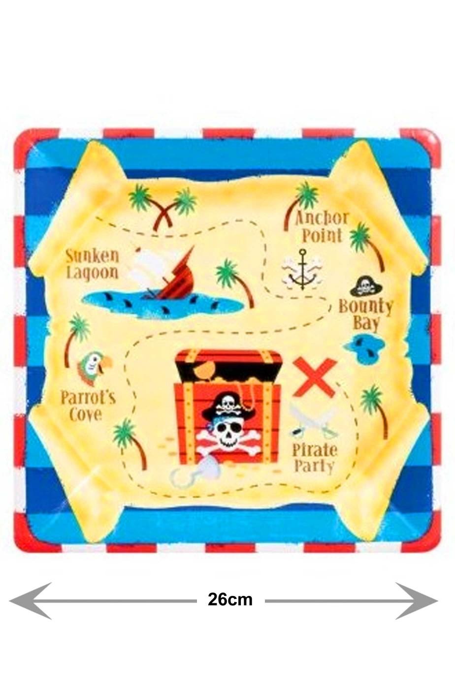Pirata Party Isola del Tesoro Piatti Party carta quadrati (8 piatti, 26cm)