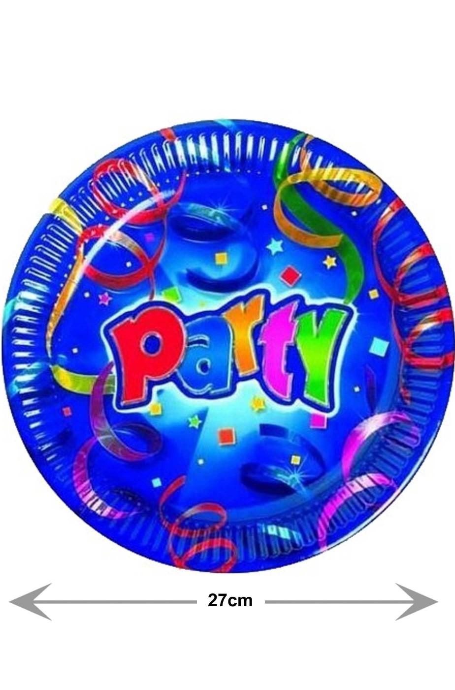 Blu Party Piatti piani di carta primo o secondo blu 8pzx27cm