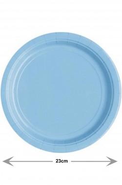 Piatti Party di carta azzurri piani grandi (8 piatti, 23cm)