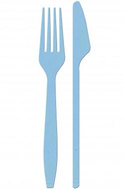 Forchette e coltelli azzurri di plastica 24 pezzi per tipo