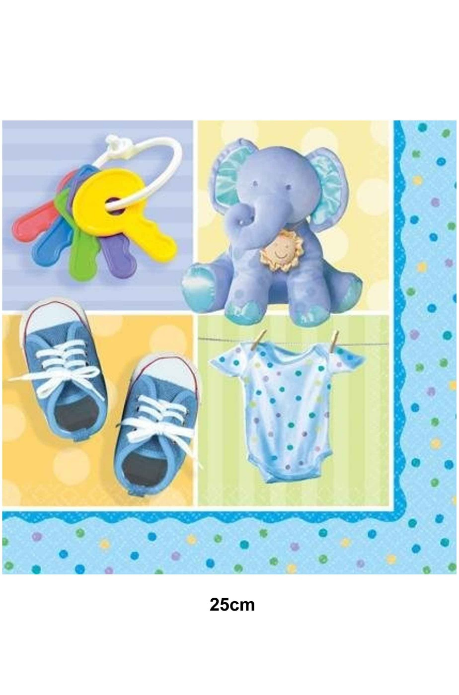 Tovaglioli di carta azzurri con elefantino per festa bimbo 25cm