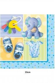 Tovaglioli di carta azzurri con elefantino per festa bimbo 33cm