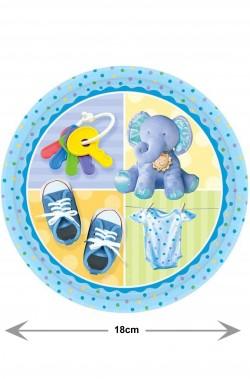 Piatti Party azzurri Elefantino bimbo di carta cm 18 8 piatti