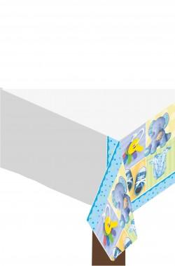 Tovaglia party di plastica azzurra elefantino bimbo137x259
