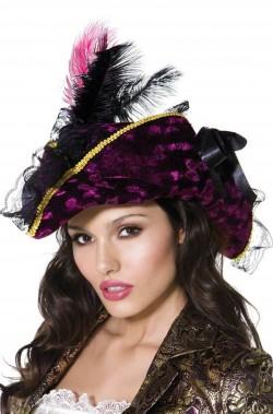 Cappello da piratessa a tricorno viola