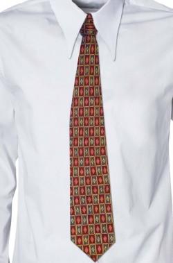 Cravatta rossa bordeaux a quadretti anni 70 vintage